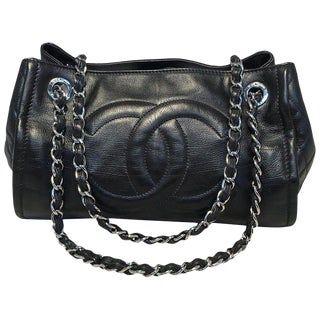 Chanel Black Leather Mini Duffle Shoulder Bag For Sale