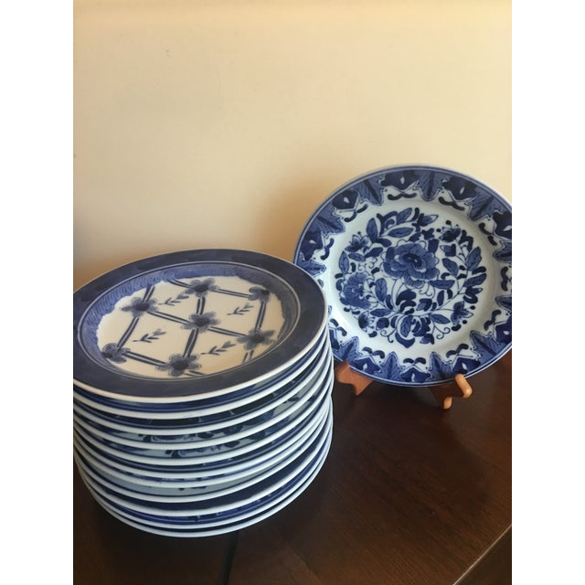 Mid-Century Modern Blue & White Floral Dessert Plates - Set of 12 For Sale - Image 3 of 12
