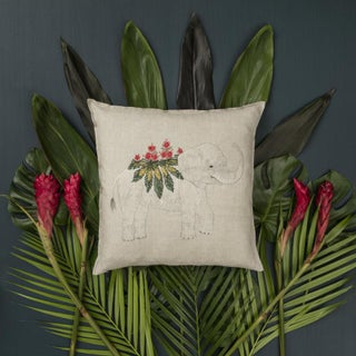 2010s French Ecru Linen Benevolent Elephant Pillow Preview