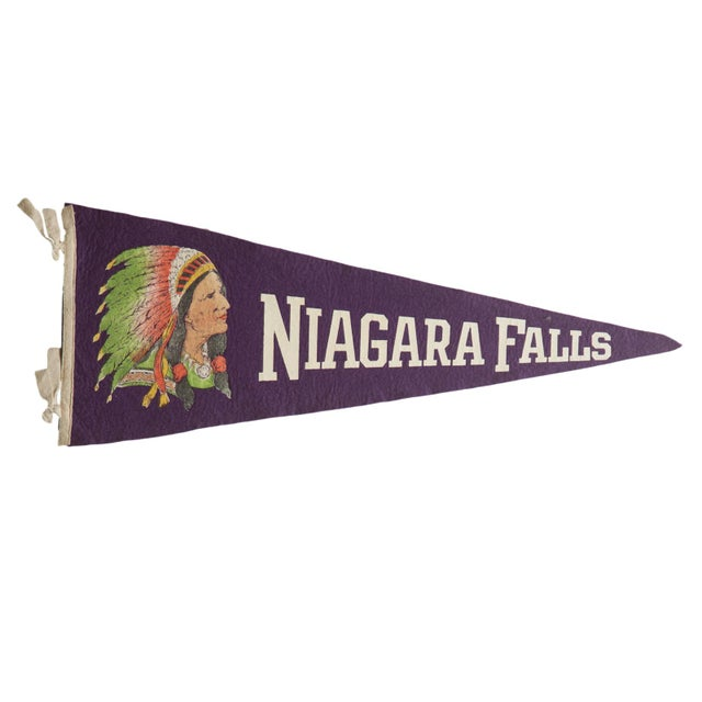 1930s Vintage Niagara Falls Felt Flag Pennant For Sale - Image 5 of 5