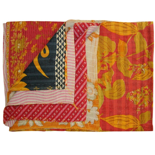Rug & Relic Vintage Kantha Quilt of Pinks With Yellow - Image 1 of 3