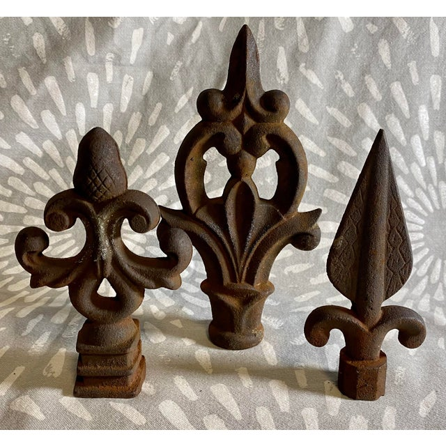 This is a set of three rustic (and oxidized) cast iron fence or gate finials. Excellent decor and also make for great...