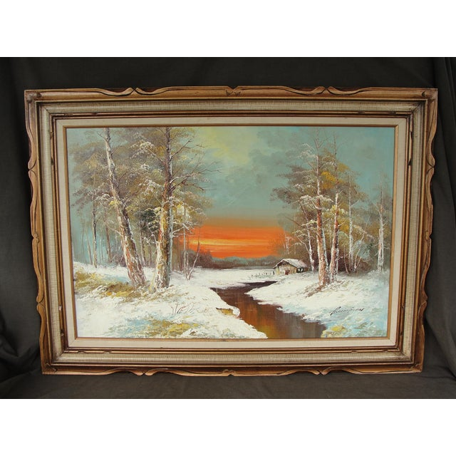 "Canvas Mid-Century ""Winter Sunset"" Oil on Canvas Painting For Sale - Image 7 of 7"