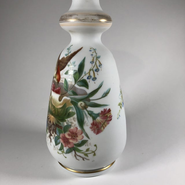19th Century French Hand-Painted Opaline Glass Vase For Sale - Image 4 of 9