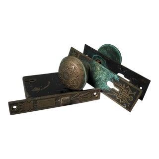 19th Century Bronze Eastlake Door Knob Set For Sale