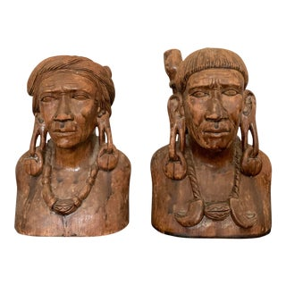 1930s Male and Female Carved Wood Statues - a Pair For Sale