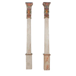 Late 20th Century Vintage Indonesian Carved and Polychromed Architectural Columns- A Pair For Sale