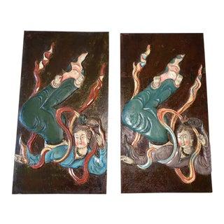 Vintage Handpainted Asian Panels - a Pair For Sale