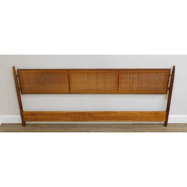 Danish Modern Vintage Teak and Cane King Headboard For Sale - Image 11 of 13