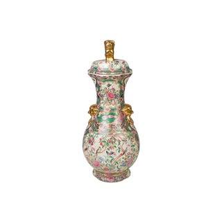 Rose Canton Porcelain Temple Ginger Jar For Sale