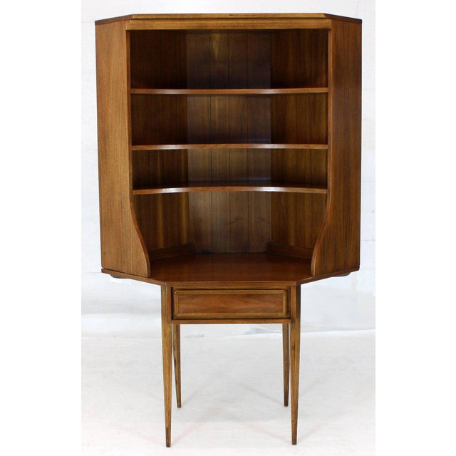 Mid-Century Modern Two-Piece Walnut Corner Desk Table Bookcase Hutch For Sale - Image 11 of 12