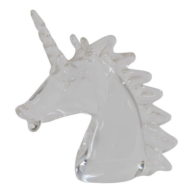Marcolin Art Crystal Unicorn Sculpture For Sale