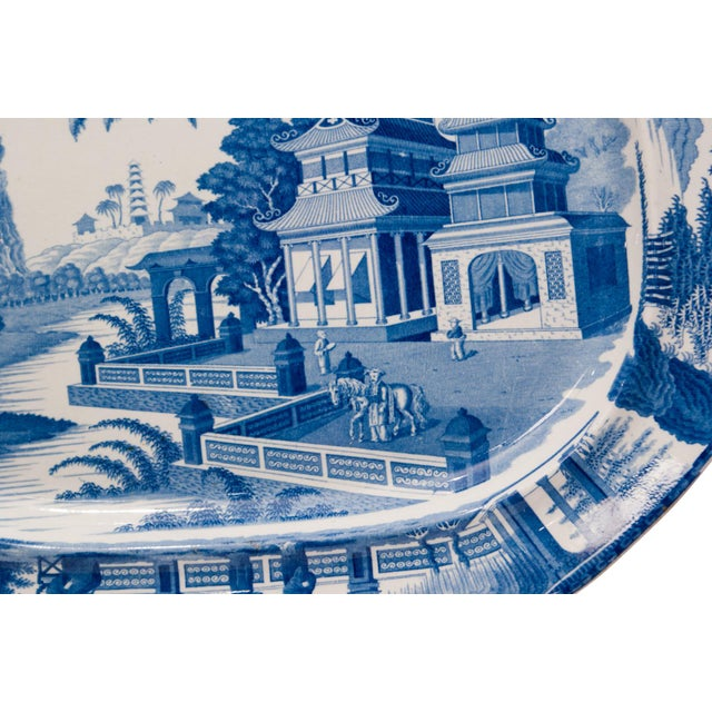 Large 1820s Chinese Blue and White Porcelain Platter For Sale In San Francisco - Image 6 of 8