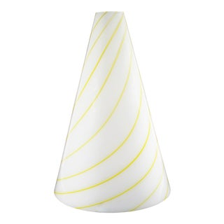 Italian 1970s White Glass Table Lamp With Yellow Stripes For Sale