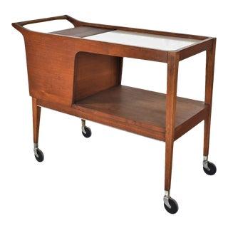 MCM Arthur Umanoff for Cavalier Dimension Group Rolling Server Bar Cart Walnut 1960s For Sale