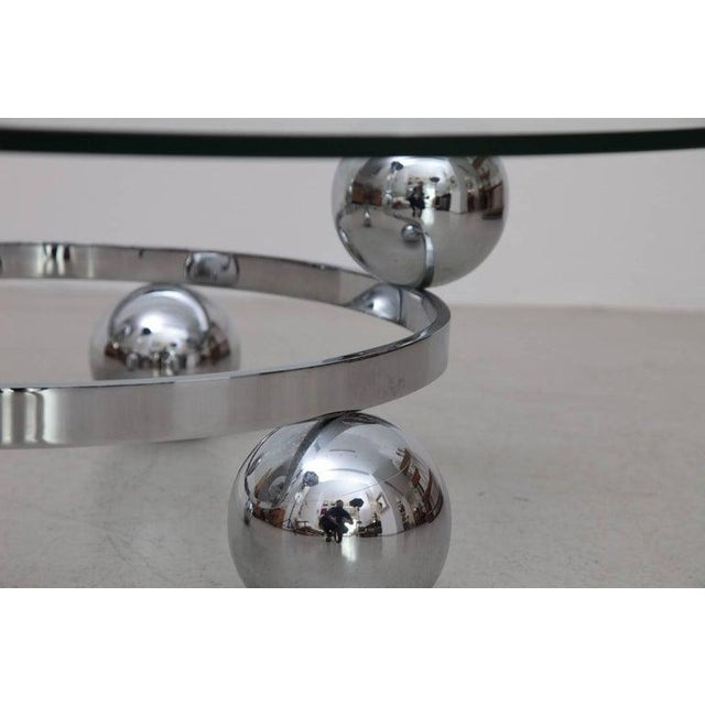 Round Chrome Sputnik Atomic Coffee Table With Glass Top For Sale - Image 4 of 5