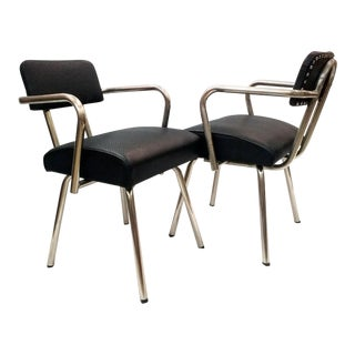 Art Deco Chrome and Volkswagen Black Vinyl Chairs - a Pair For Sale