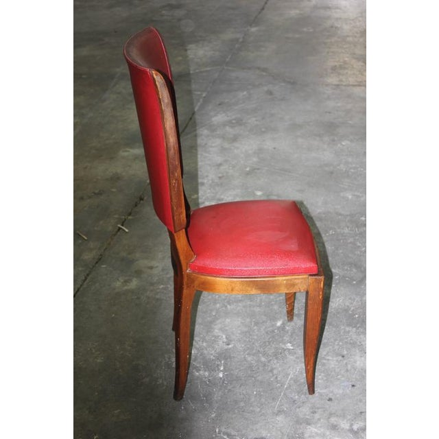Set of Six French Art Deco Classic Solid Mahogany Dining Chairs, circa 1940s. - Image 7 of 10