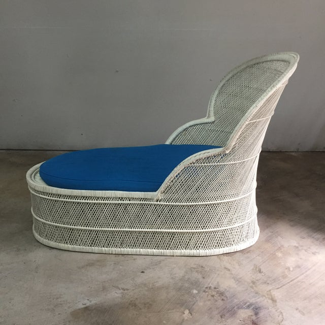 """Beautiful vintage wicker rattan bohemian lounge chair. Cushion should probably be recovered. 51.5"""" depth seat depth 32""""..."""