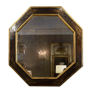 Italian Baroque Period Amber Paint and Parcel-Gilt Octagonal Mirror, Circa 1680 For Sale