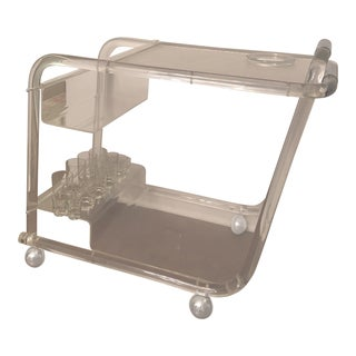 1950s Lucite and Chrome Bar Cart For Sale