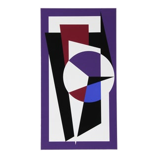 Geometric Design in Purple and Black by Genevieve Claisse For Sale