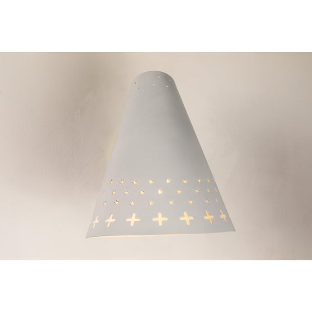 1950s Danish Perforated Sconces Attributed to Bent Karlby - a Pair For Sale In Los Angeles - Image 6 of 13