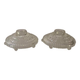 Vintage Clear Cut Glass Candle Holders S/2 For Sale