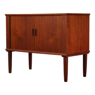 Small Teak Buffet with Tambour Designed by Arne Vodder For Sale