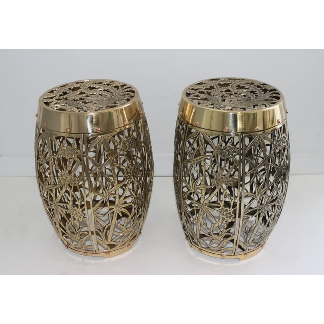 Garden Stools Bamboo Crane Bird Cherry Blossom Motif in Polished Brass Fretwork - a Pair For Sale - Image 10 of 11