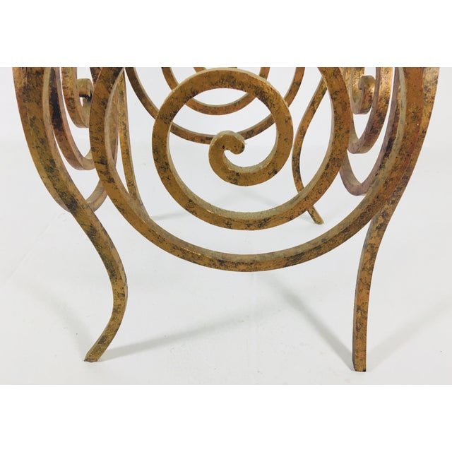 1960s Scroll Wrought Iron & Glass Coffee Table For Sale - Image 5 of 8