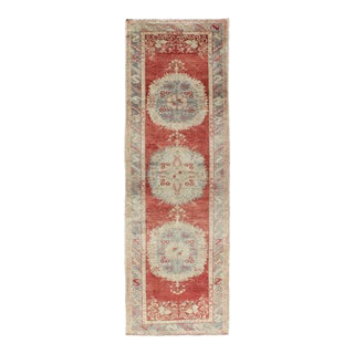 Vintage Turkish Oushak Runner With Three Floral Medallions in Red, Ivory, Light Blue For Sale