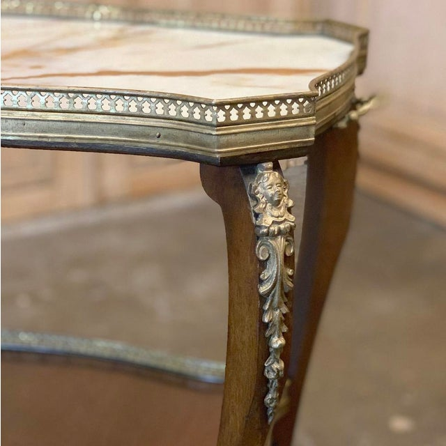 Late 19th Century 19th Century French Louis XVI Marble Top End Table For Sale - Image 5 of 13