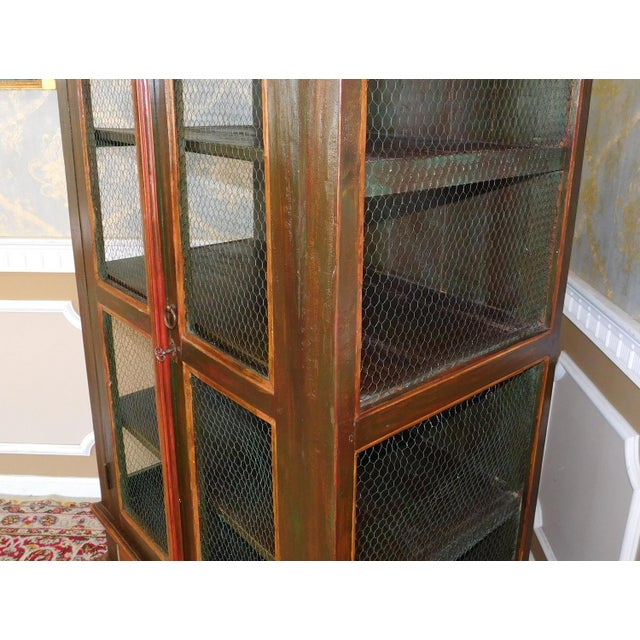 Very Nice Country Style Double Chicken Wire Door Primitive & Rustic Painted Armoire 1990s For Sale In New York - Image 6 of 11