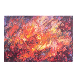 'Abstract in Coral and Scarlet' by N. Flynn; American School, 1970's For Sale