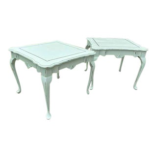 Shabby Chic Painted Queen Anne Style End Tables - a Pair For Sale