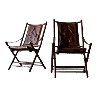 Campaign Leather Sling Chairs - a Pair For Sale