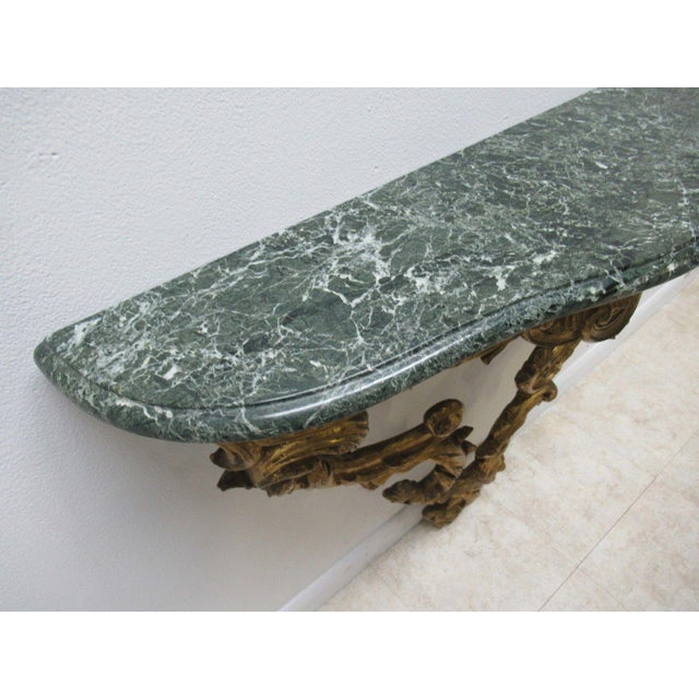Antique French Carved Marble Top Wall Shelf Console - Image 8 of 11