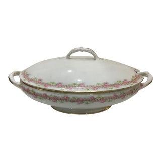 Vintage 1970s French Limoges Porcelain Serving Bowl & Lid For Sale