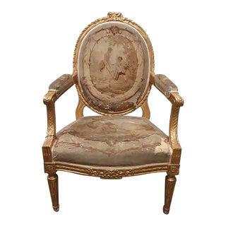 Antique Gilt French Louis XVI Fauteuil Chair