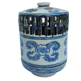 Blue & White Asian-Style Candle Lantern For Sale