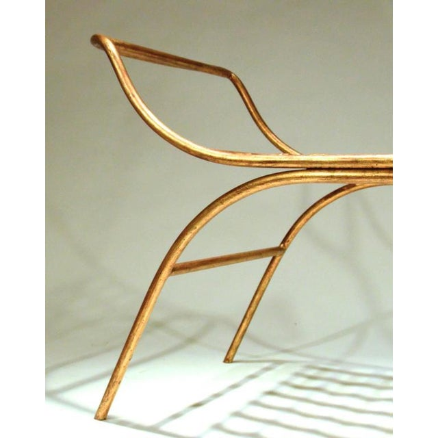Mid Century Italian Gilded Gold Curule Bench - Image 3 of 12