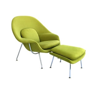 Knoll Saarinen Green Medium Womb Chair & Ottoman For Sale