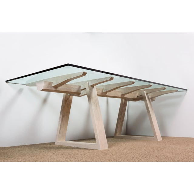 Paul Marra Vertebrae Dining Table. Architectural inspired modern dining table in bleached oak with light distressing and...