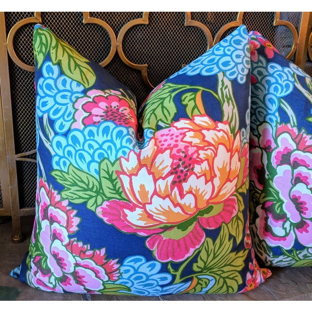 Asian Thibaut Honshu Chinoiserie Style Floral Pillows - a Pair For Sale - Image 3 of 5
