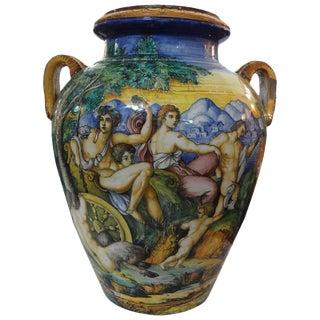 Mid 19th Century Antique Italian Glazed Earthenware Urn For Sale