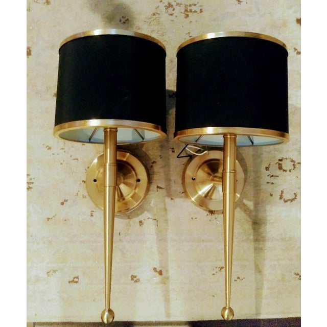 Metal Black and Gold Streamlined Wall Sconce Lights - a Pair For Sale - Image 7 of 7