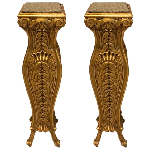 Mid-Century Giltwood Pedestals with Marble Tops - A Pair For Sale