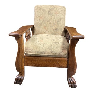 1900s Antique Oak Traditional Morris Chair For Sale