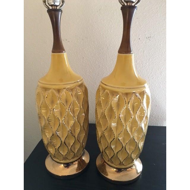 Yellow Mid Century Ceramic Lamps - Pair - Image 3 of 6